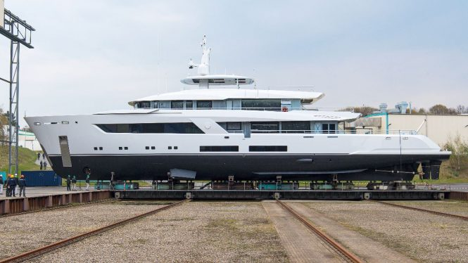 Project 13800 by Lurssen and designed by Bannenberg & Rowell ready to be launched  © Klaus Jordan