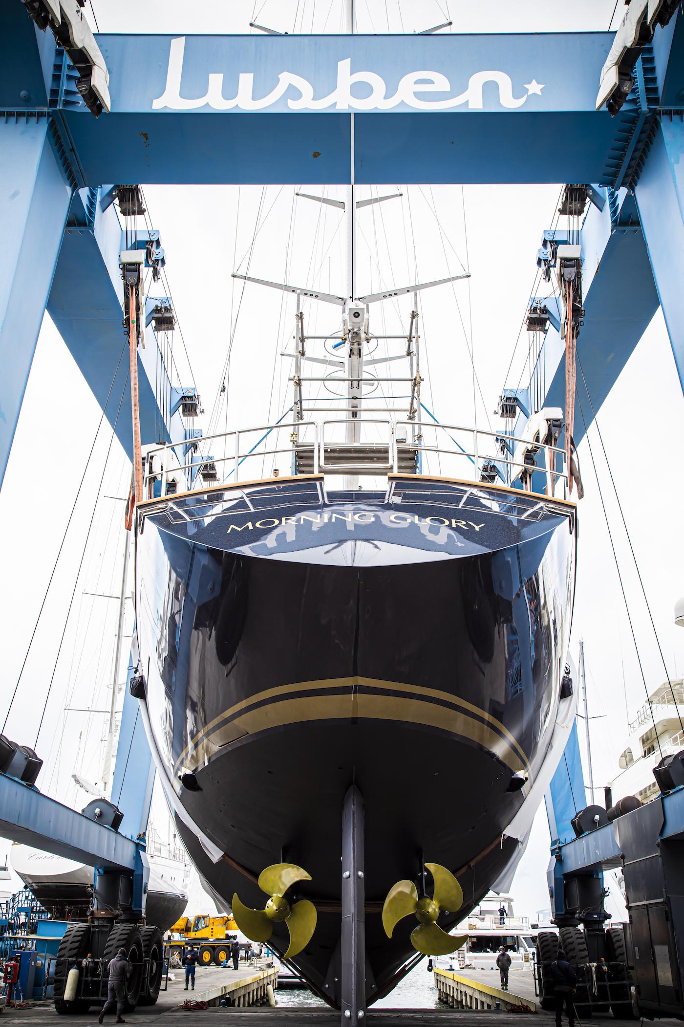 Sailing Yacht Morning Glory launch at Lusben shipyard