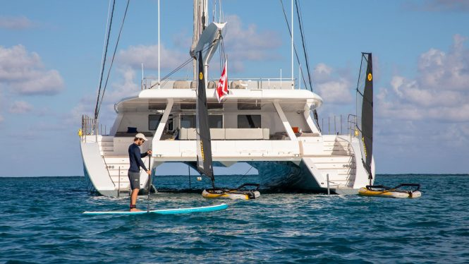 CHE catamaran with toys
