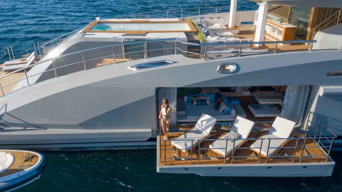 Amazing deck spaces aboard M:Y TATIANA available for charter in the Mediterranean this summer