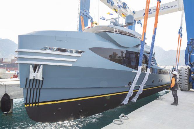 PHI PHANTOM yacht support vessel hitting water © Alia Yachts