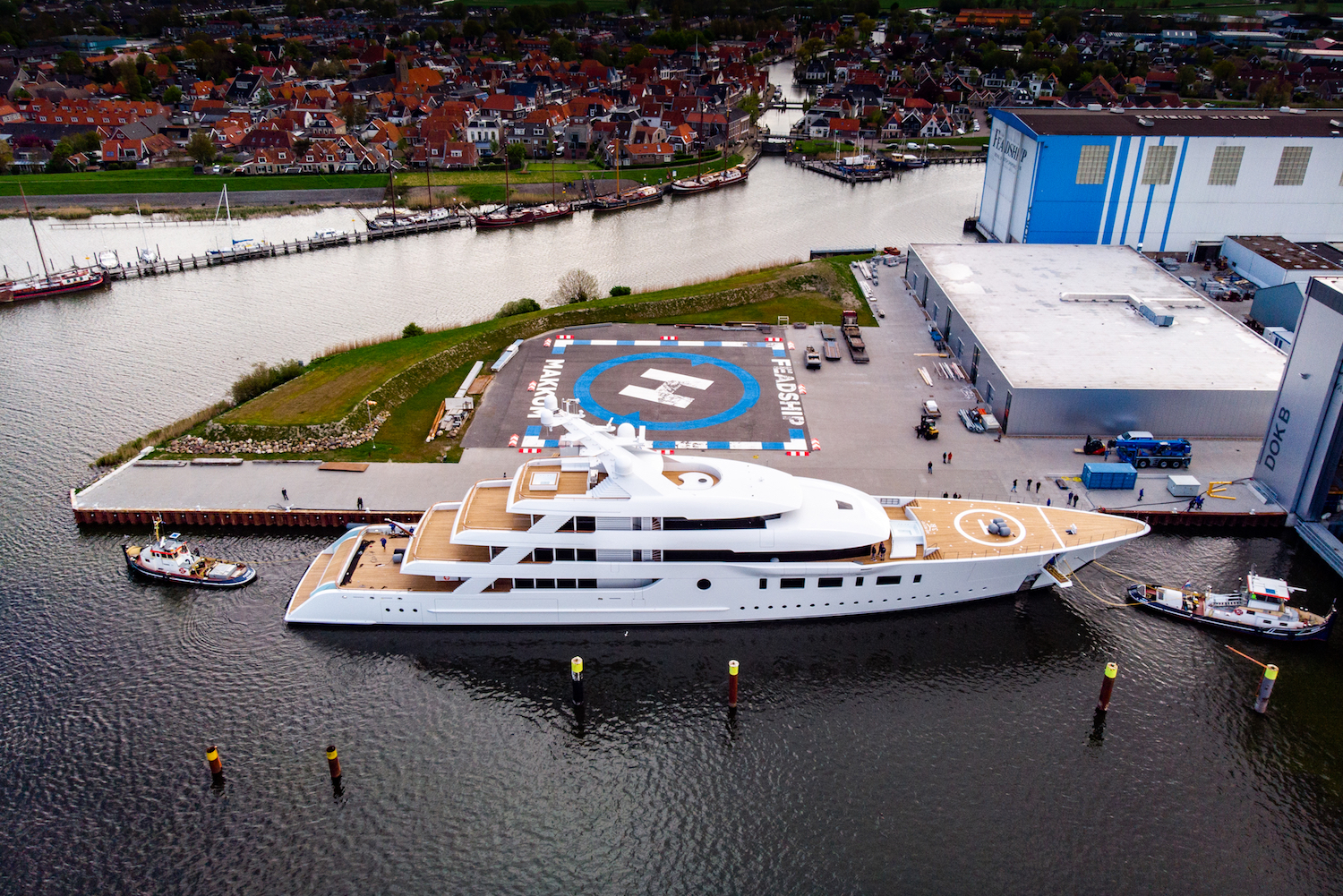 aerial view of the mega yacht BLISS © Feadship