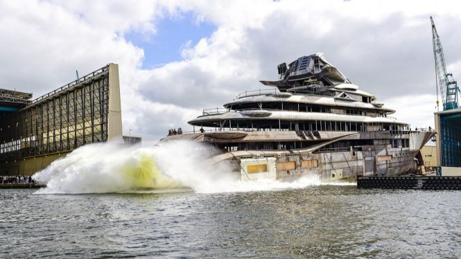 122m Project JAG yacht by Lurssen hits water
