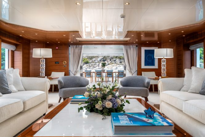 Main saloon looking aft onto the alfresco dining area