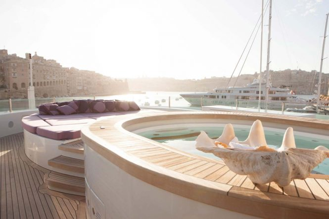 On deck luxury charter yacht ST DAVID available in the Balearics