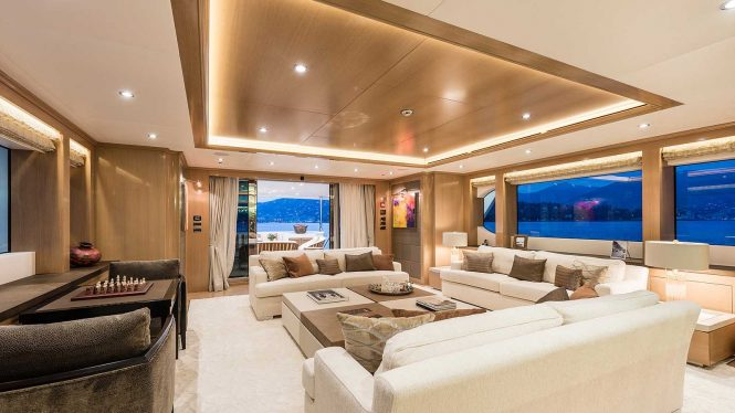 Spacious entertainment and socialising areas on board