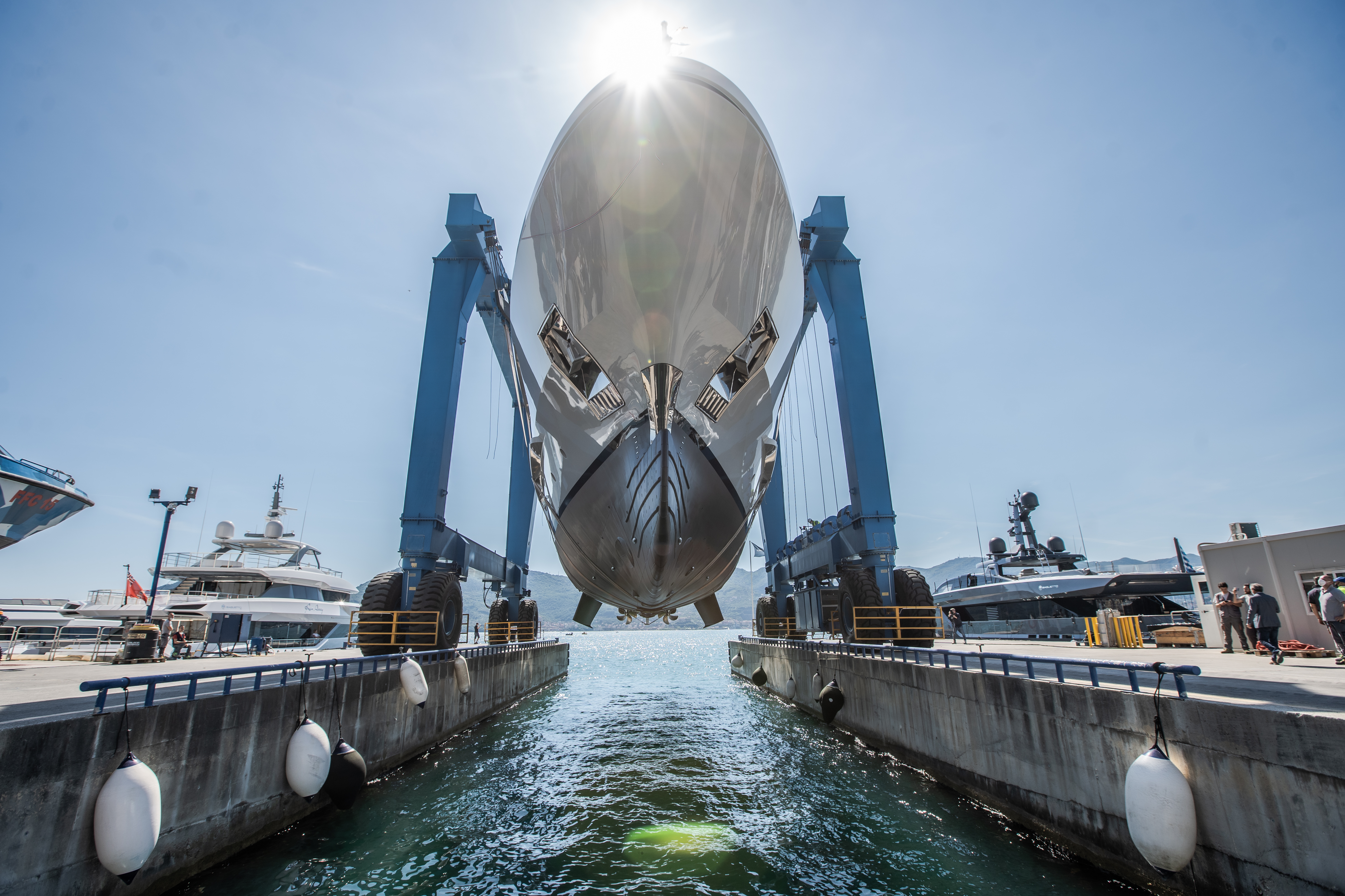 LION about to hit water - superyacht LION