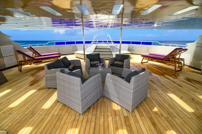 deck seating and sunbathing area