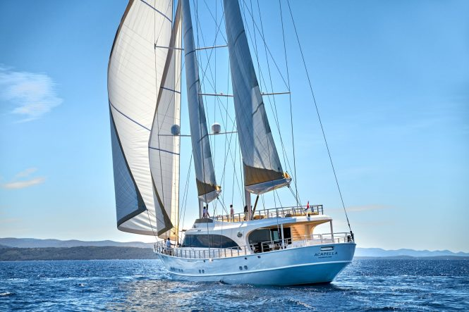 Acapella yacht sailing in the Eastern Mediterranean