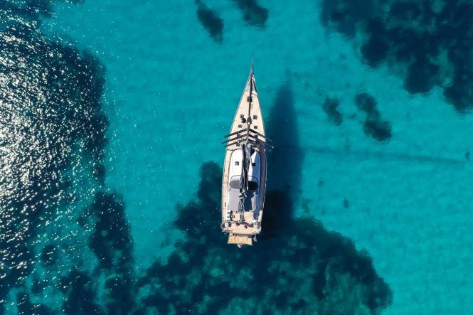 Aerial view of the yacht