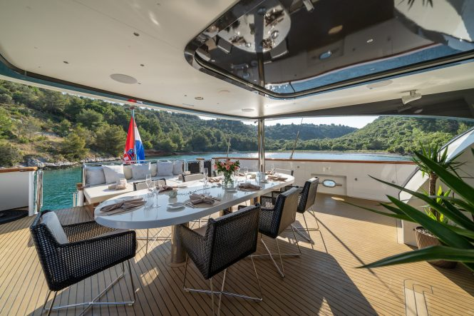 Beautiful aft deck with amazing views of the Croatian nature