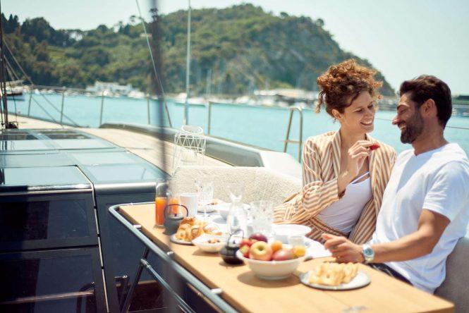 Enjoying a delicious breakfast on board