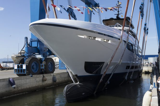 Luxury yacht COMO - a Mangusta 43 Oceano by Overmarine Group launched onto the water