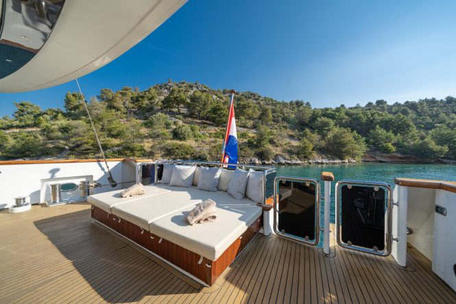 aft deck sunbathing and relaxation