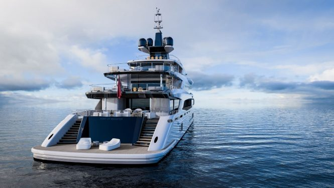 Beautiful aft view of the yacht TRIUMPH by Benetti