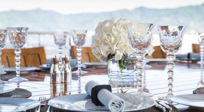Elegant dining set up wherever you cruise