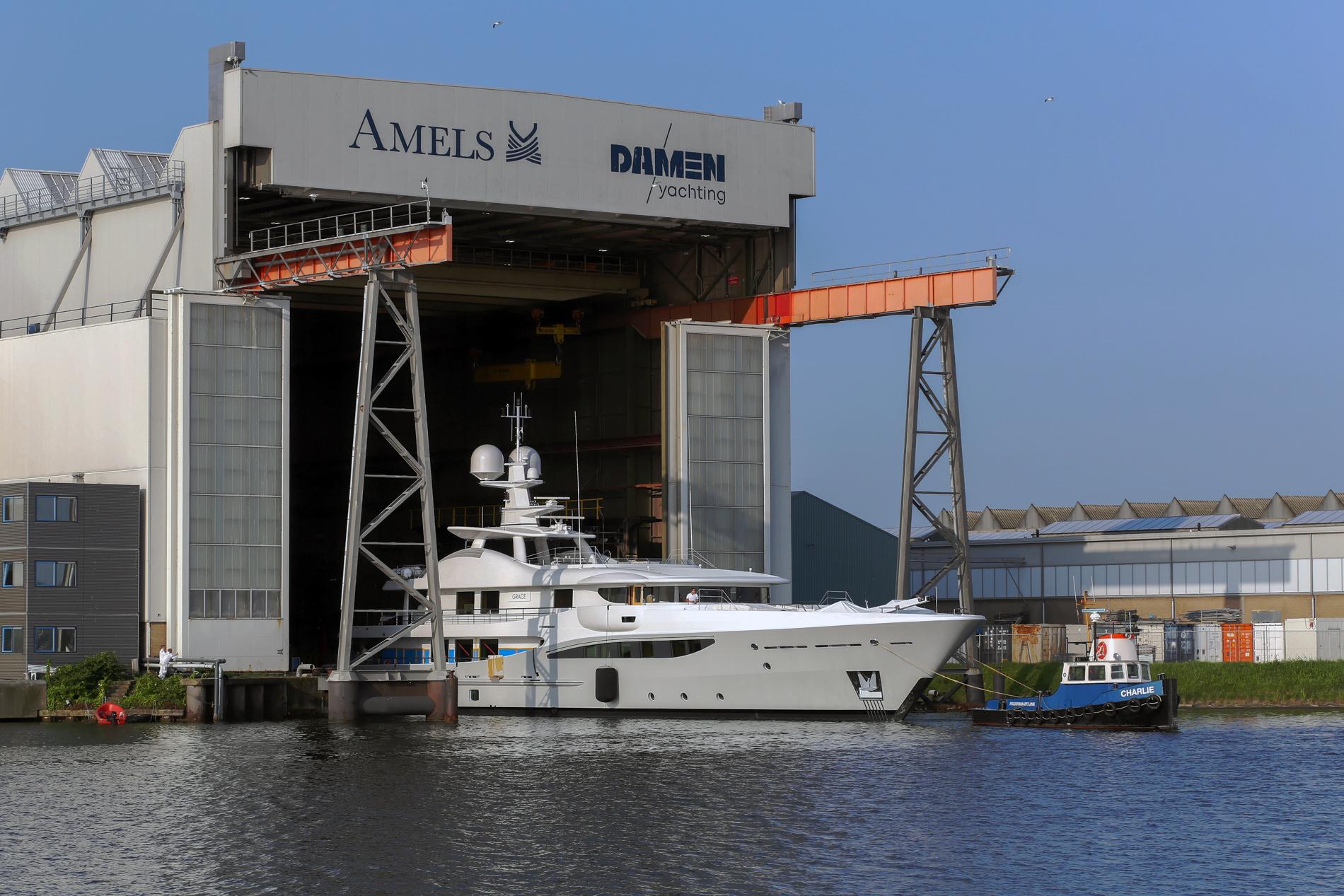 Luxury superyacht GRACE leaving yard after refit