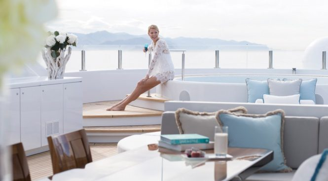 Luxury superyacht lifestyle with Jacuzzi