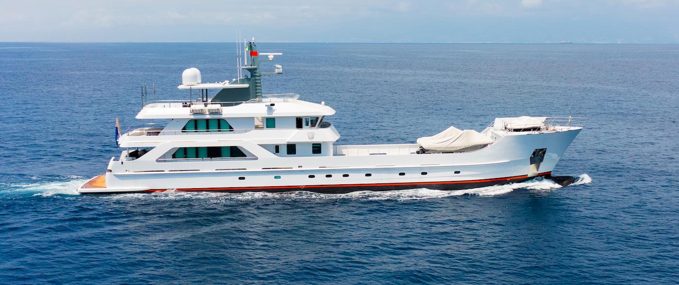 superyacht Far Far Away after refit at Lusben shipyard
