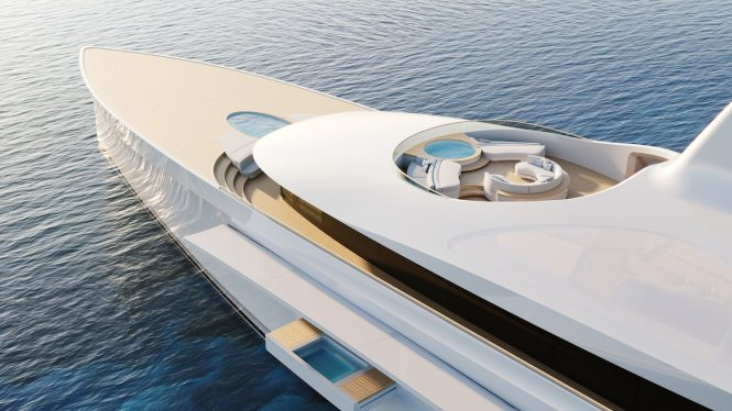 Clean lines of the foredeck with pool and Jacuzzi © Feadship