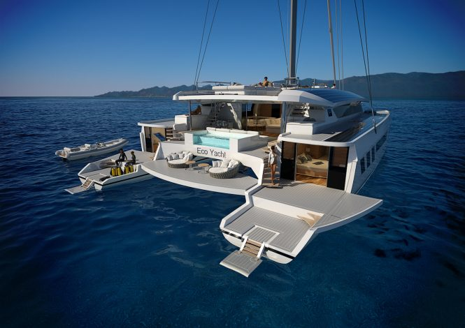 Wider Pajot 115 ECO yacht with amazing deck areas